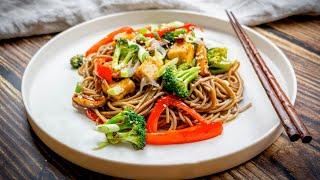 Teriyaki Soba Noodles with Broccoli and Mushrooms | Лапша Соба с Брокколи и Грибами в Соусе Териоки